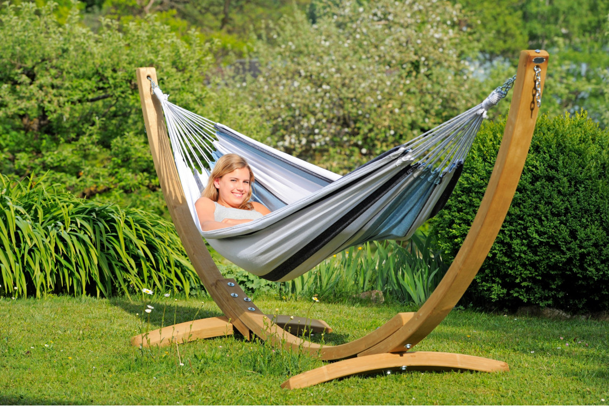 Apollo set hammock with wooden stand aiora amazonas - Nature et decouverte hamac ...