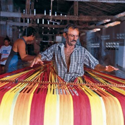 Amazonas hammocks are produced in Brazil in the traditional way on the loom